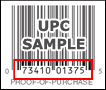 example indicating the numbers found on the proof of purchase below the barcode
