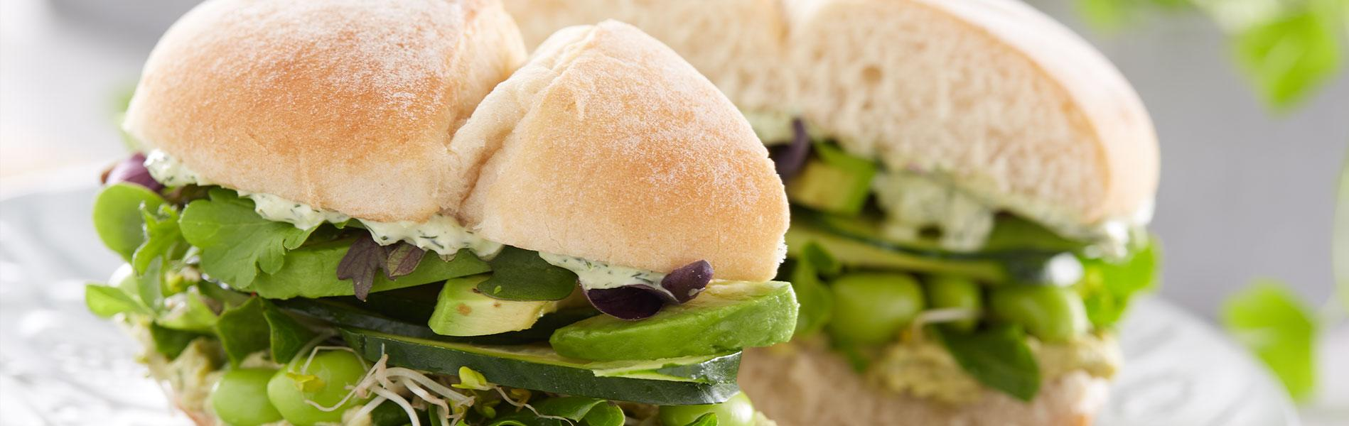 Lettuce, edamame, cucumber and sprouts sandwich