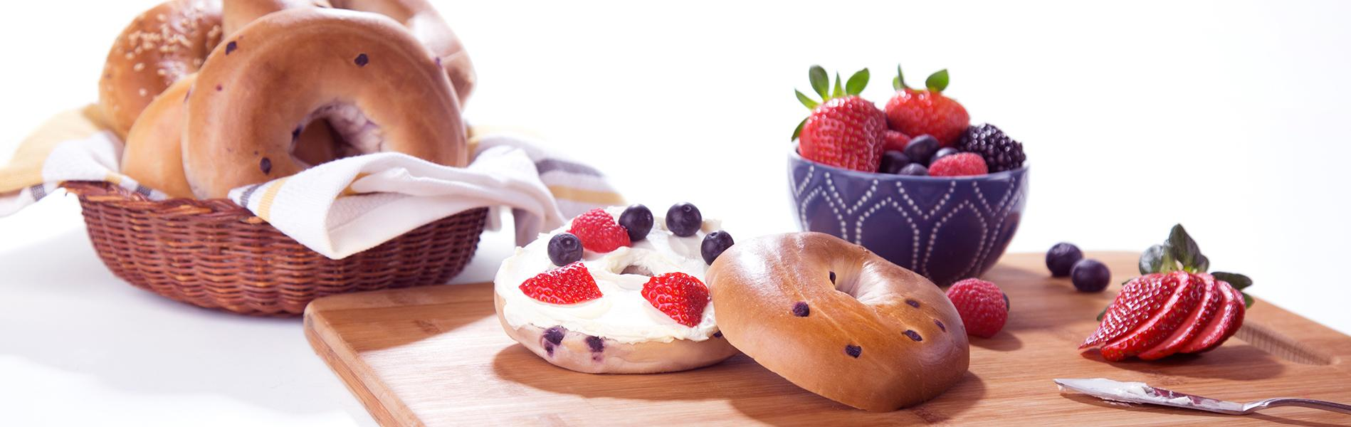 Fruit and cream cheese on Sara Lee Blueberry Bagels