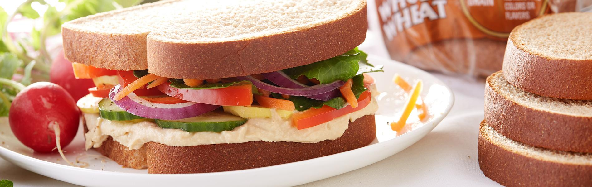 Veggie sandwich made with whole wheat bread