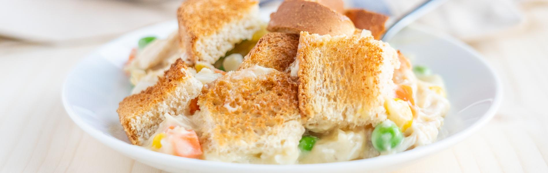 Chicken Pot Pie made with bread and vegetables