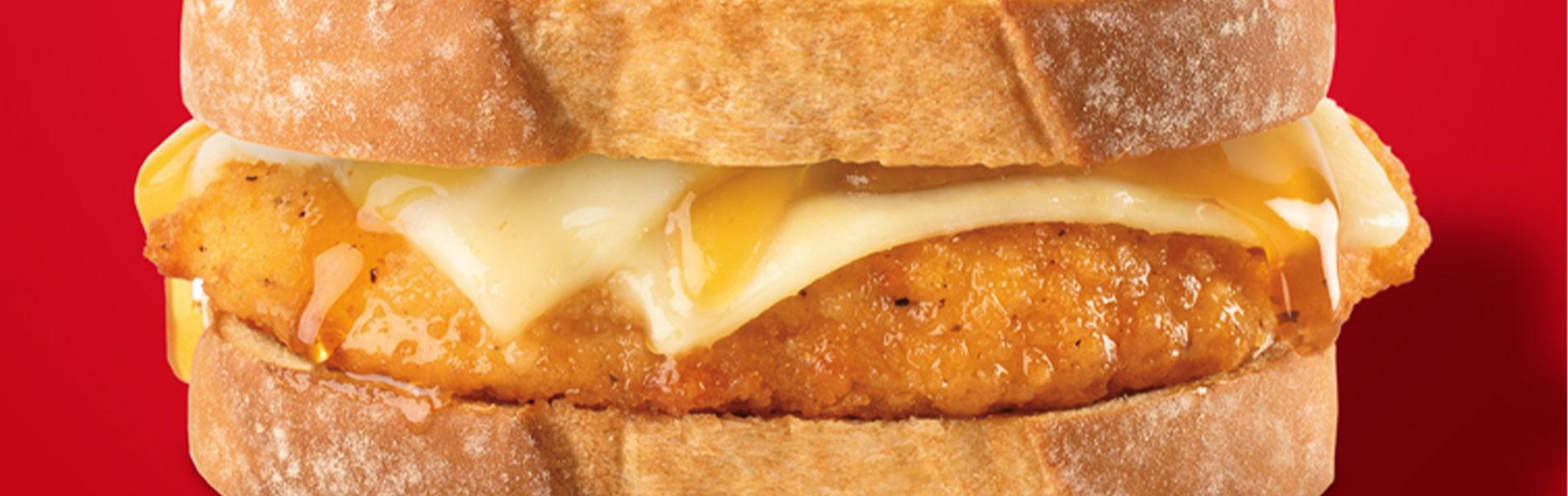 breaded chicken breast, Sharp White Cheddar cheese and hot honey