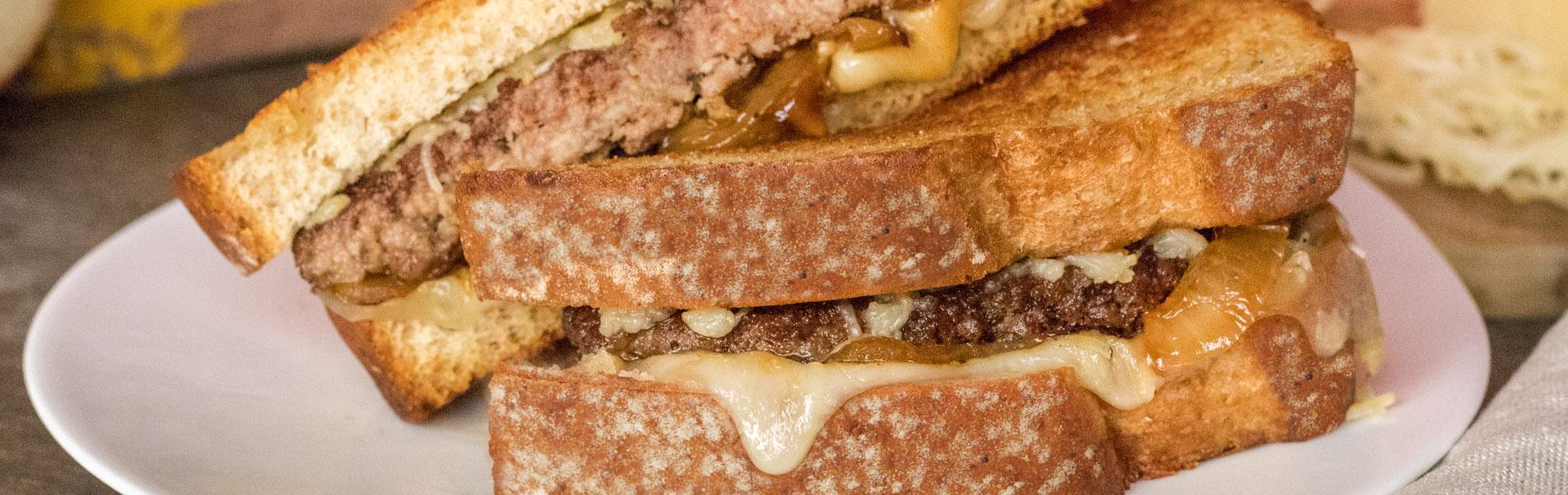 Caramelized Onion Grilled Cheese Burger by Katie Lee