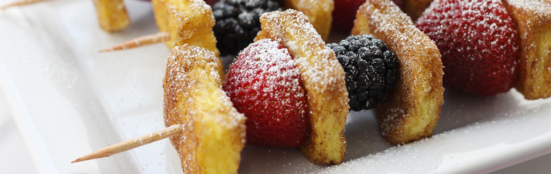French Toast and Fruit on skewers