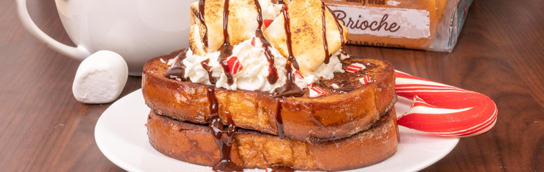 French toast made with hot chocolate and peppermint