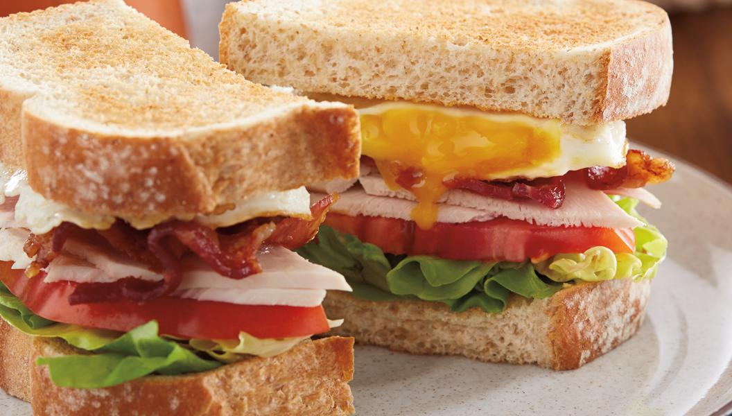 Egg & Turkey Club sandwich on Artesano Golden Wheat bread