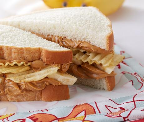 Peanut Butter Banana with Chips Sandwich