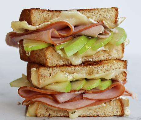Apple, Ham and Grilled Cheese sandwich