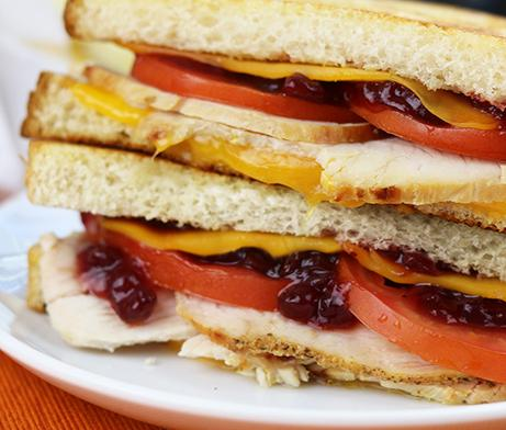Turkey, cranberry and cheese sandwich melt
