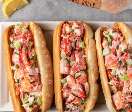 lobster roll with lobster meat, celery, chives, lemon juice, and mayonnaise