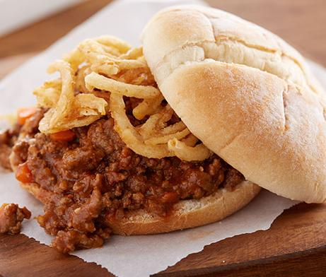 Sloppy Joe with Crispy Fried Onion Straws