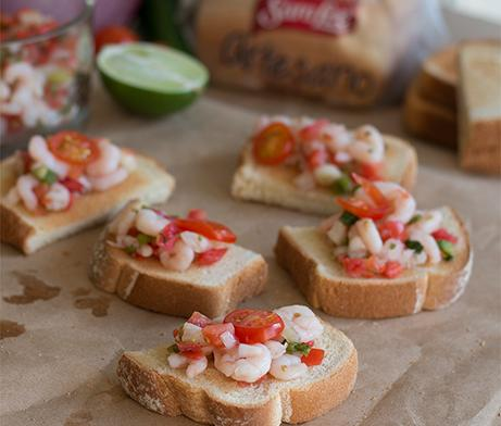 Shrimp Pico de Gallo Toast