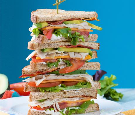 Four sandwiches stacked