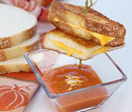 Pumpkin Soup & Grilled Cheese Skewers