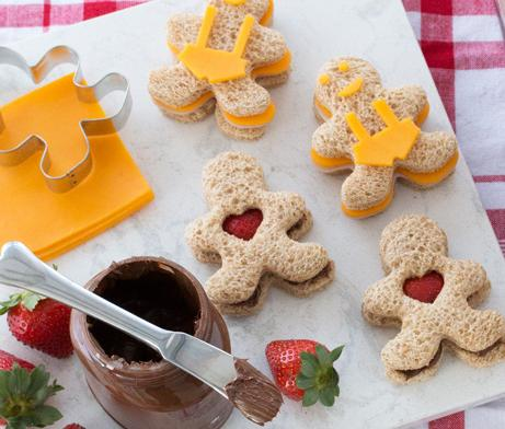 Gingerbread Man sandwiches made of turkey, cheese and fruit
