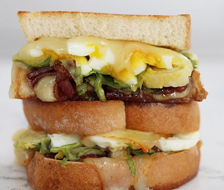 Bacon, egg, grilled cheese and Brussel sprouts sandwiches
