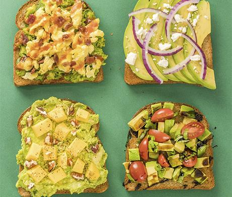 Variety of Avocado on Toasts