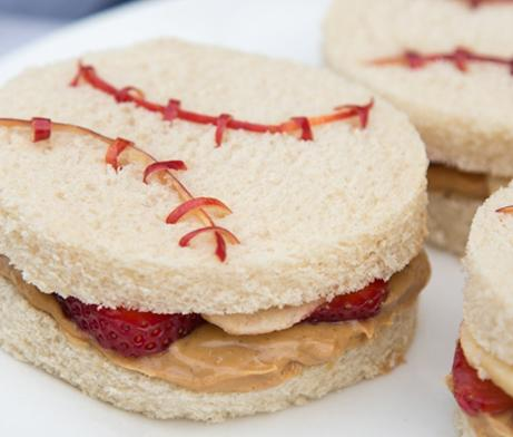 Peanut butter, jelly and fruit sandwich